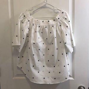 H&M Off the Shoulder Polka Dot Shirt